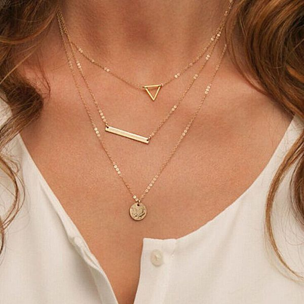 Women Necklaces & Pendants 3 multi layer Necklace Tassel Charm Bar statement Necklace for Women gift collar de mujeres colar feminino collier de femmes