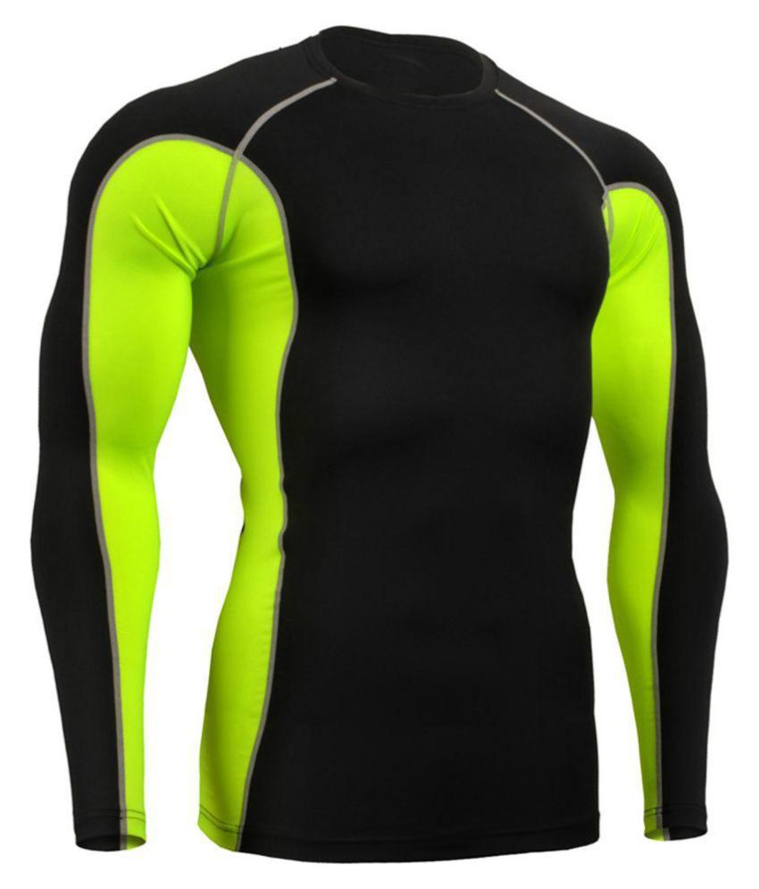 Zesteez Black Neon Green Full sleeves Men ultra stretchable gym-  workout compression support tshirt in premium Quality   fabric || compression Support || GYM || YOGA|| Active-  wear || Sportswear|| cycling||Running