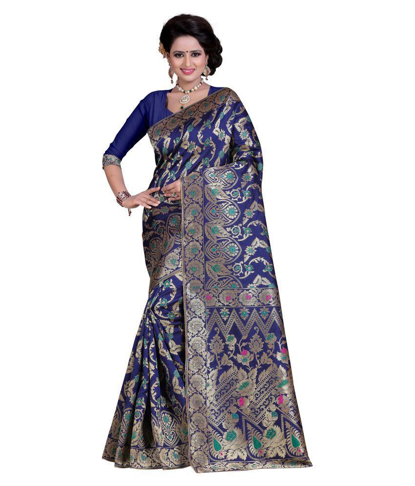 Greenvilla Designs Navy Banarasi Silk Saree