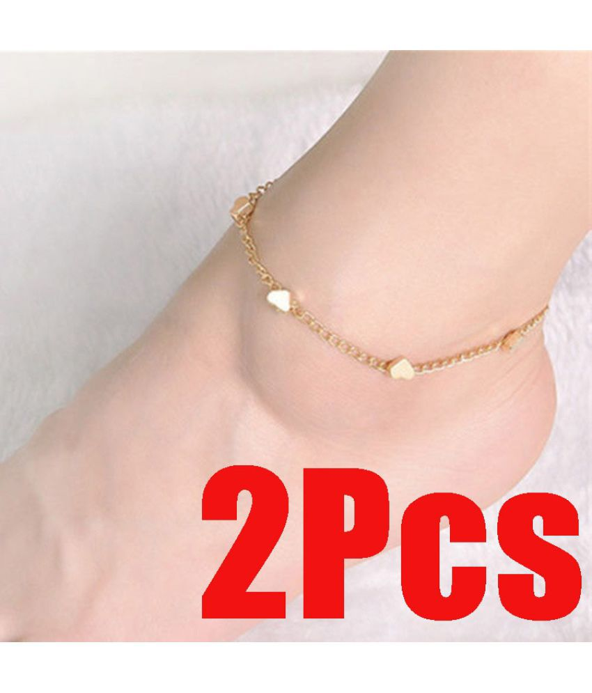 2Pcs Foot  Chain Beach Gold Love Barefoot Bracelet Anklet Heart Chain Jewelry