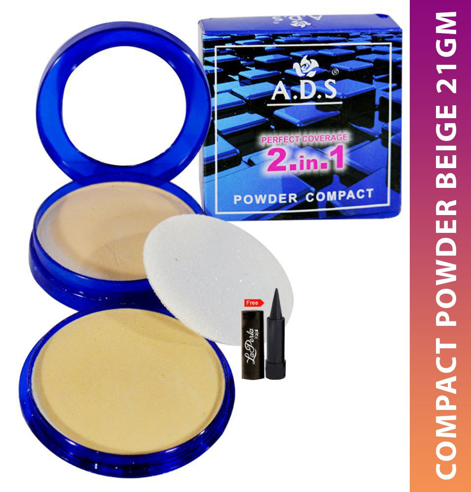 ADS 2IN1 Compact Powder With Free Kajal Pressed Powder Beige 23 gm