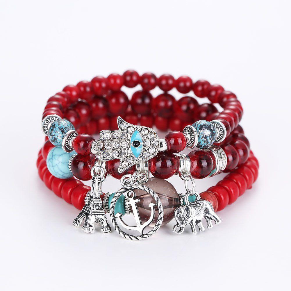 Vintage Women Evil Eye Crystal Beads Alloy Bracelet Tower Charm Bangle Multi Layers Bracelets Jewelry
