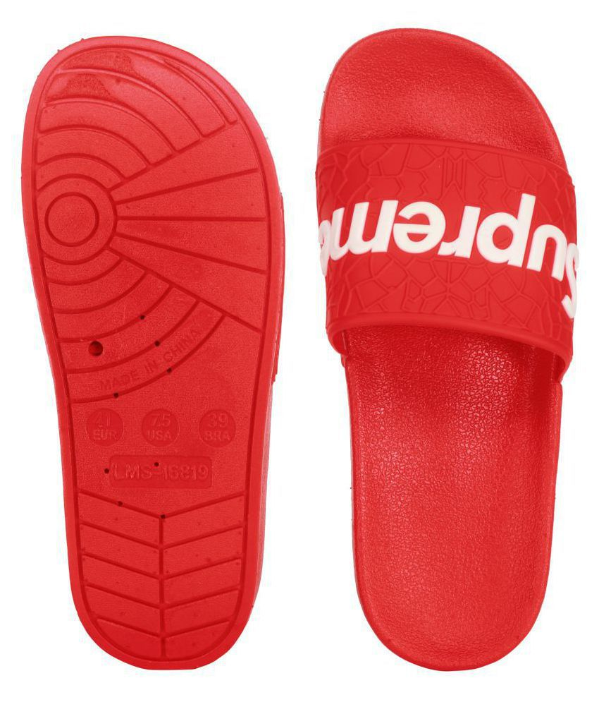 409cb5845 SUPREME Red Slide Flip flop Price in India- Buy SUPREME Red Slide Flip flop  Online at Snapdeal