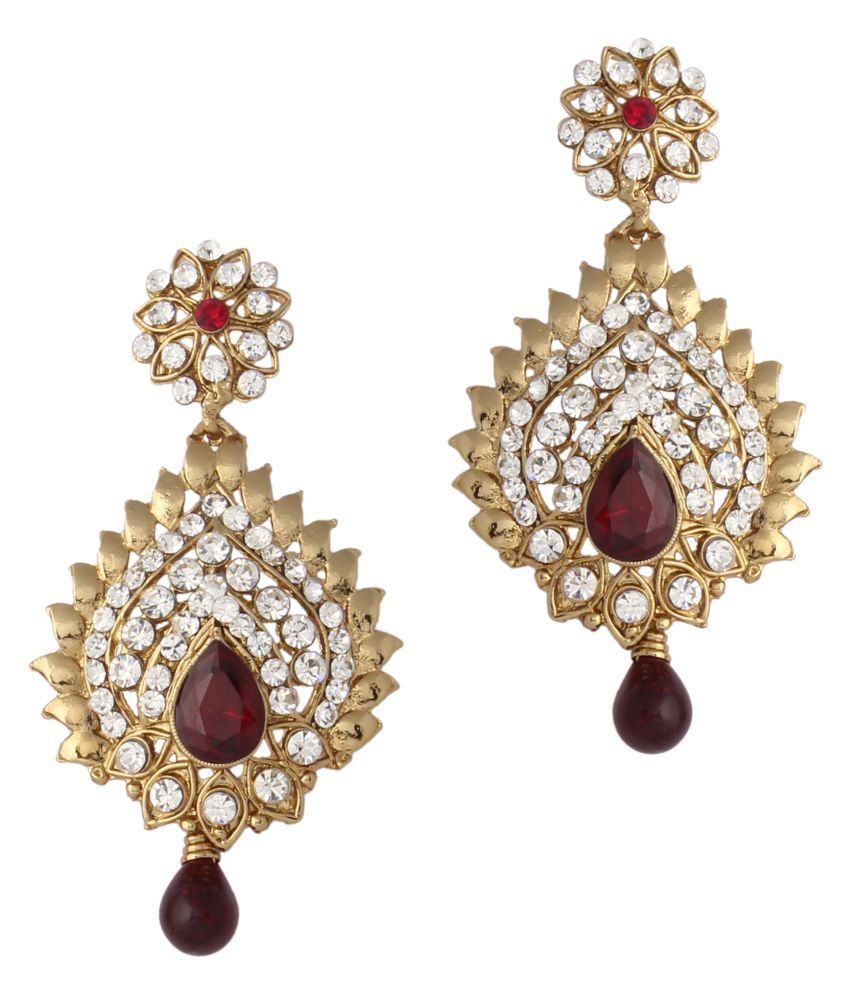 Variation Traditional Gold Plated Maroon Drop Earring For Women - VD10754