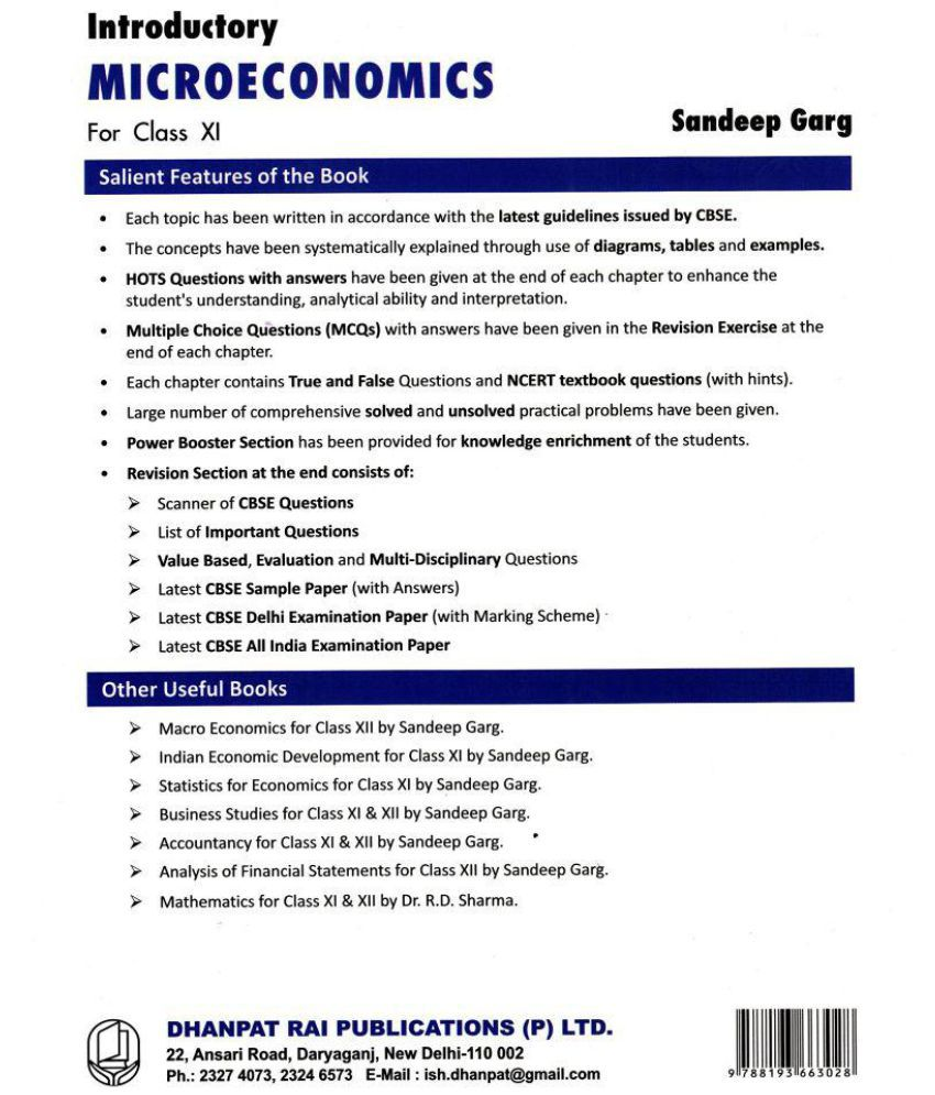 Introductory Microeconomics for Class 11 (2018-2019) Session by Sandeep  Garg Paperback - 2018