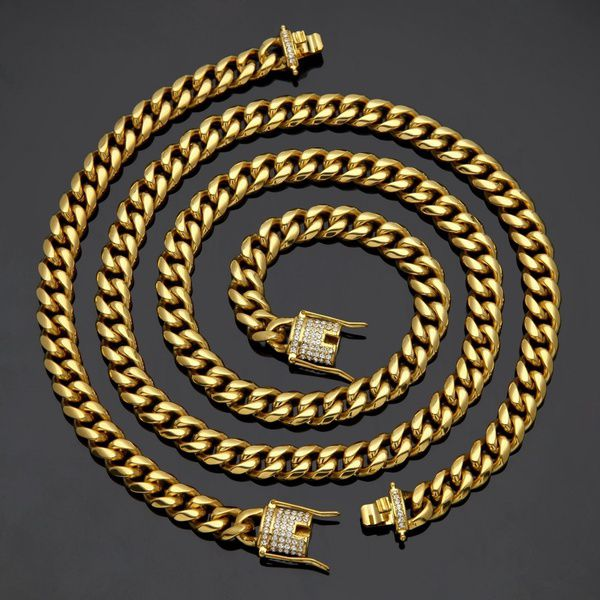 ... Kamalife Men Cuban Miami Link Necklace Stainless Steel Rhinestone Clasp  Iced Out Gold Silver Hip Hop bf8f23f04c26