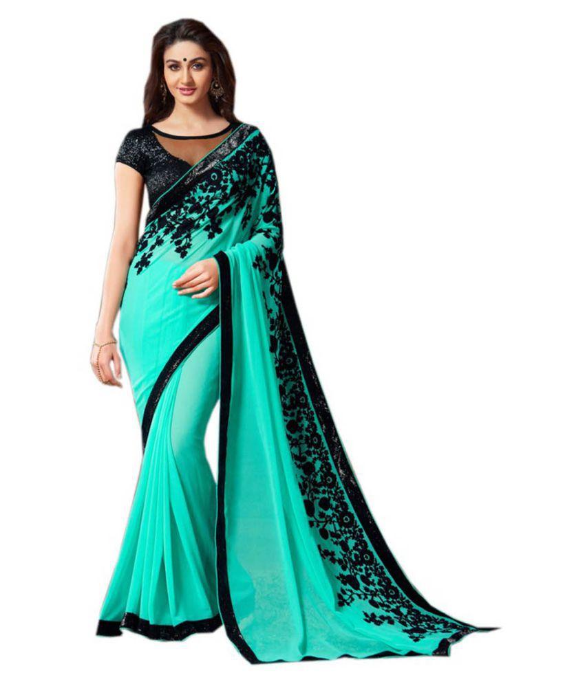Dubai Creation Turquoise Georgette Saree