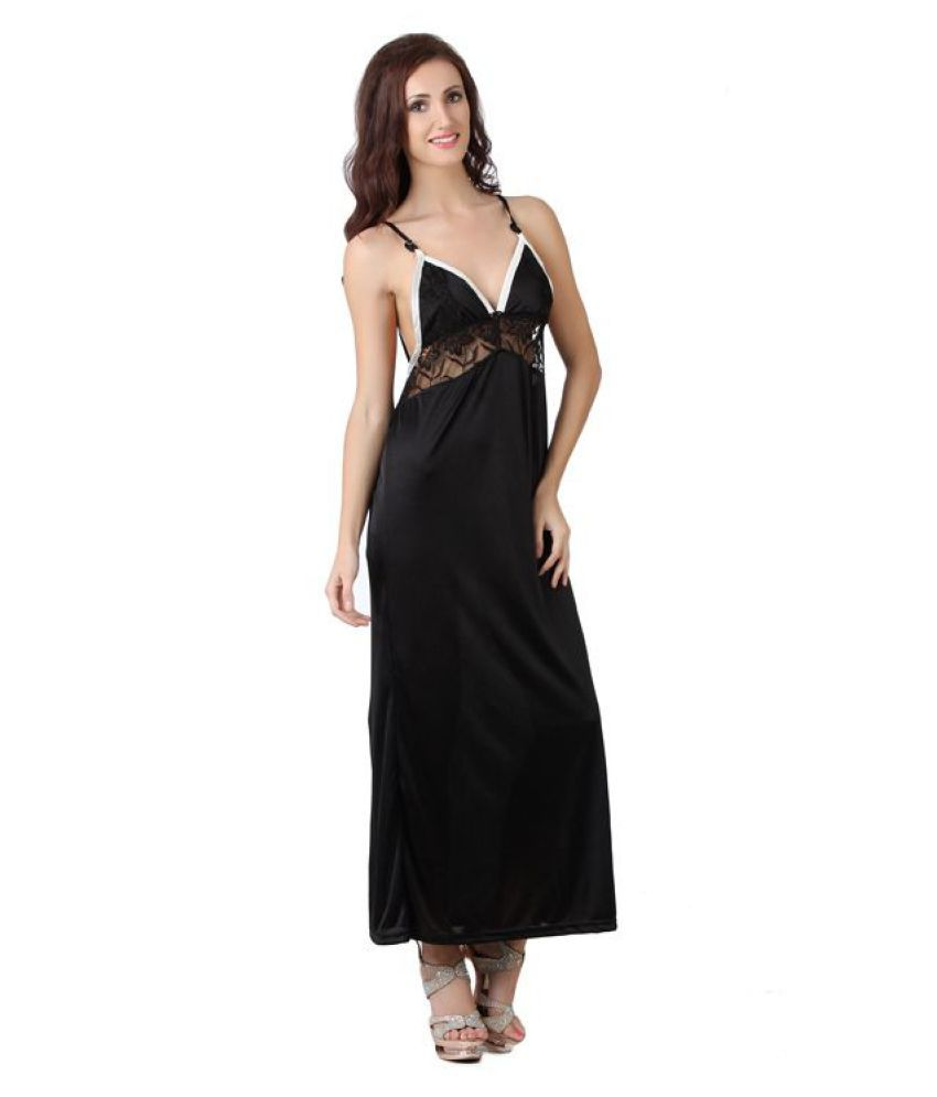 Buy Fasense Satin Nighty   Night Gowns - Black Online at Best Prices ... 1f130f00d