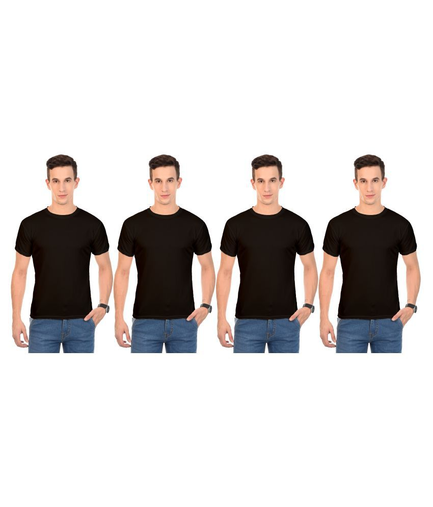 Arod Black Round T-Shirt Pack of 4