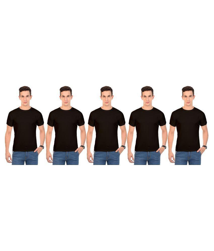 Arod Black Round T-Shirt Pack of 5