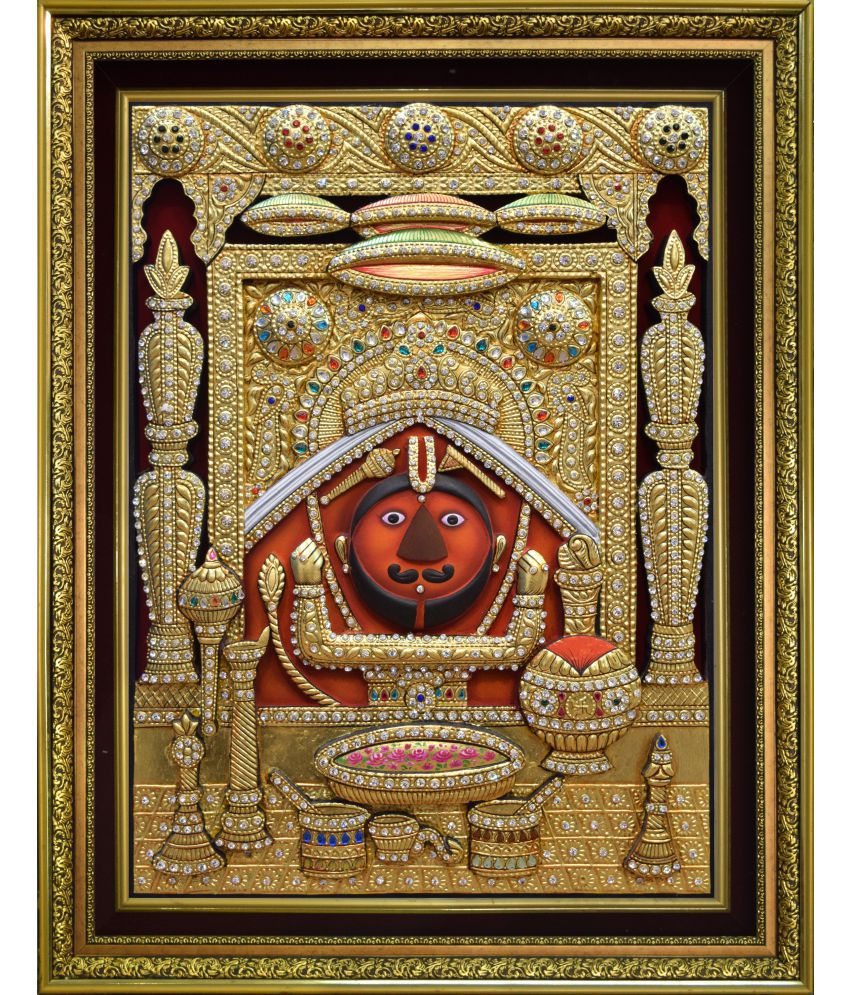Mukund Arts Salasar BalaJi hand wood painting with gold leaf Wood Painting With Frame