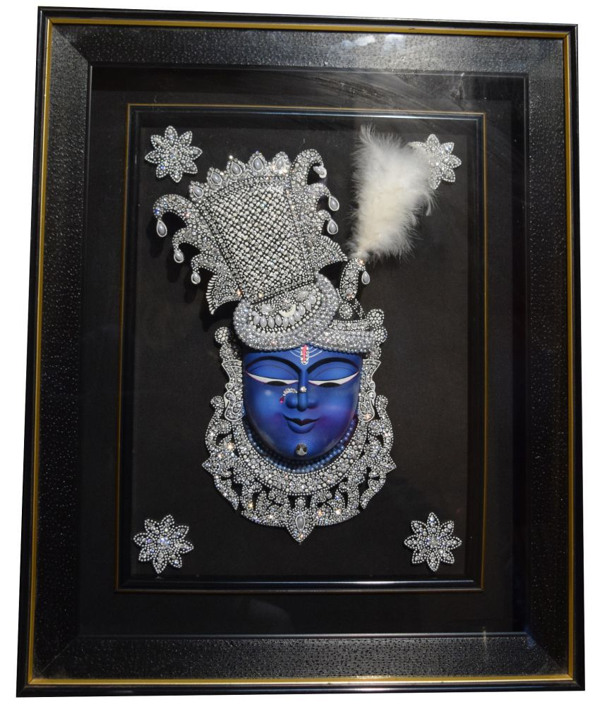 Mukund Arts ShreeNathji Mukharbind hand wood painting with gold leaf Wood Painting With Frame