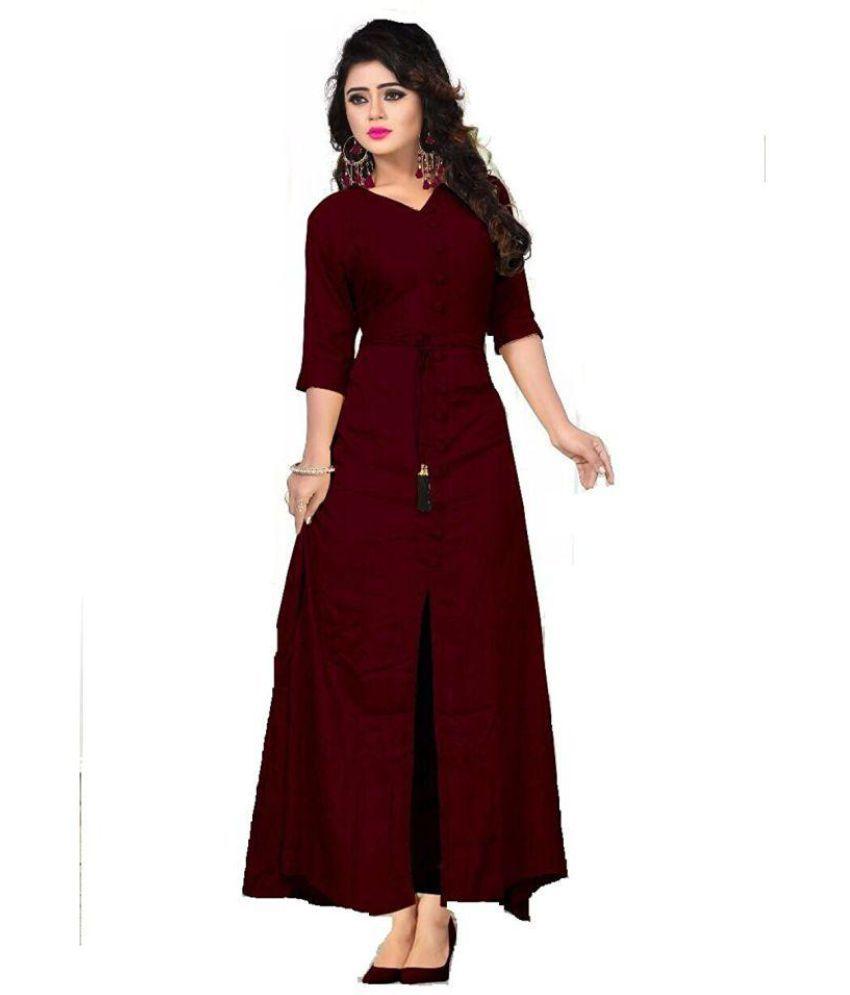 5f6820f3657d Sacred Fashion Rayon Maroon A- line Dress - Buy Sacred Fashion Rayon ...