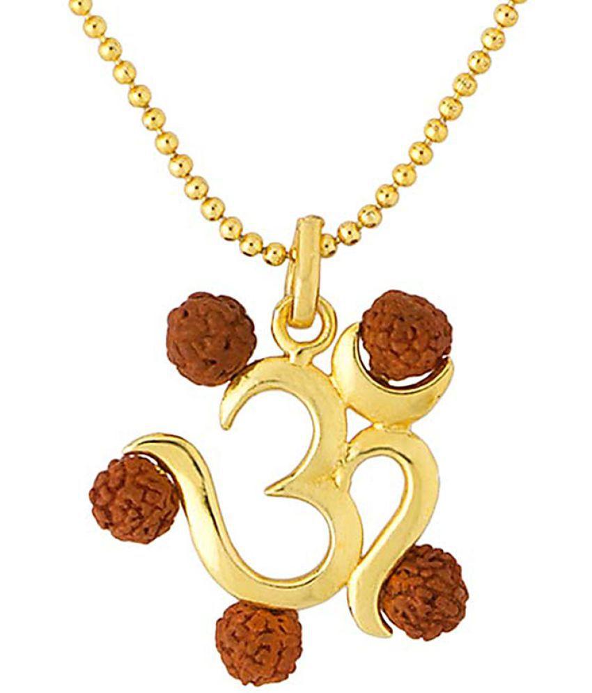 Voylla 'OM' Enclosed With Rudraksha mala Pendant With Chain