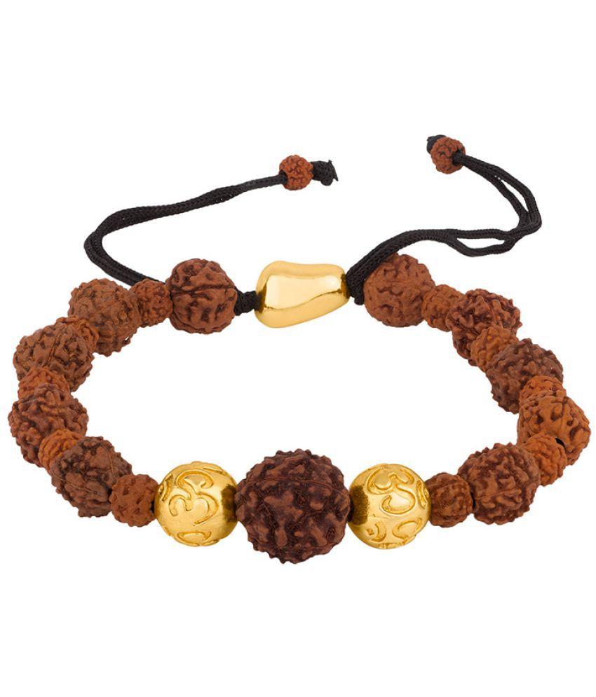 Voylla Trendy Rudraksha and Gold Bead Mahadev Bracelet
