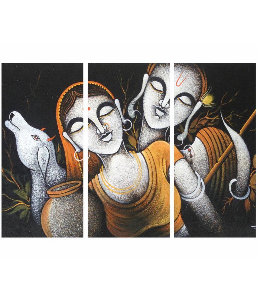 Style As Fashion Radha Krishna 3 Panel MDF Painting Without Frame