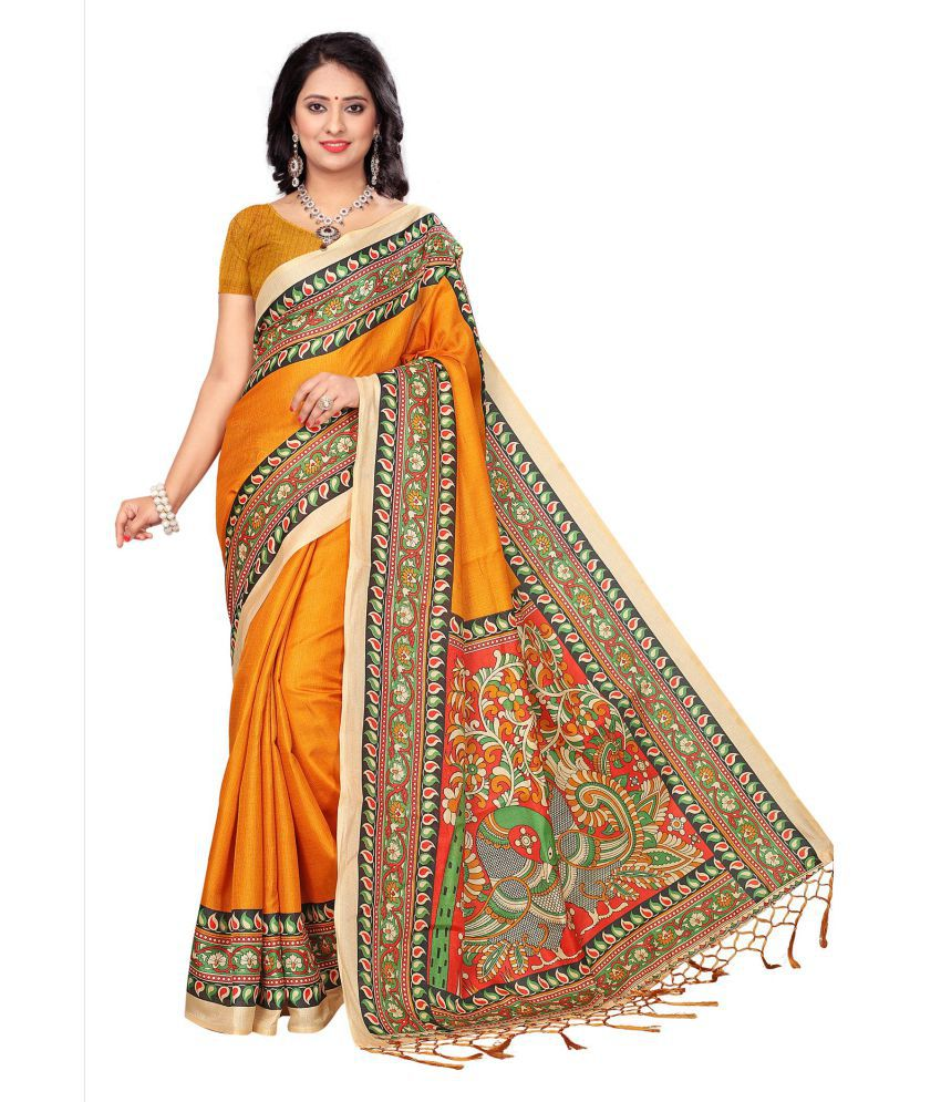 Indira Orange and Beige Khadi Saree