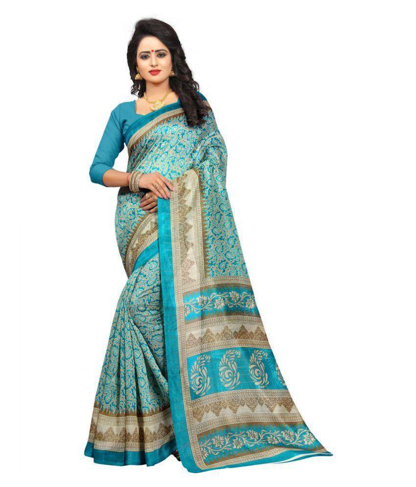 Raploch Blue Bhagalpuri Silk Saree