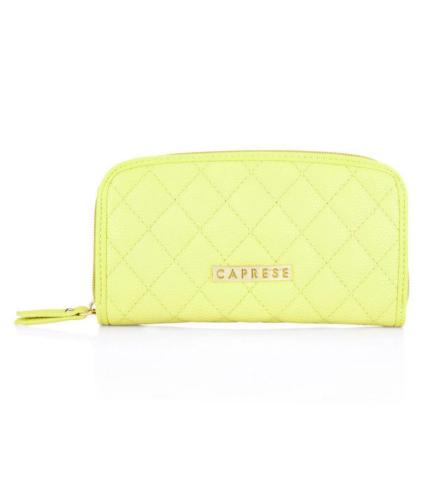 Caprese Yellow Faux Leather Wristlet