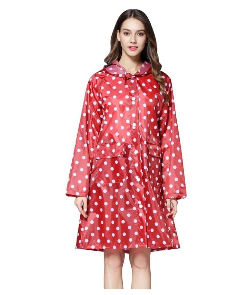 Changing Destiny Waterproof Long Raincoat - Red