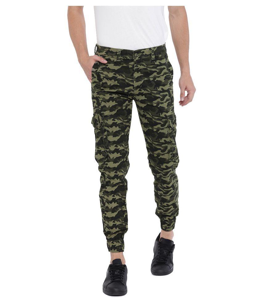 Sports 52 Wear Green Slim -Fit Flat Cargos