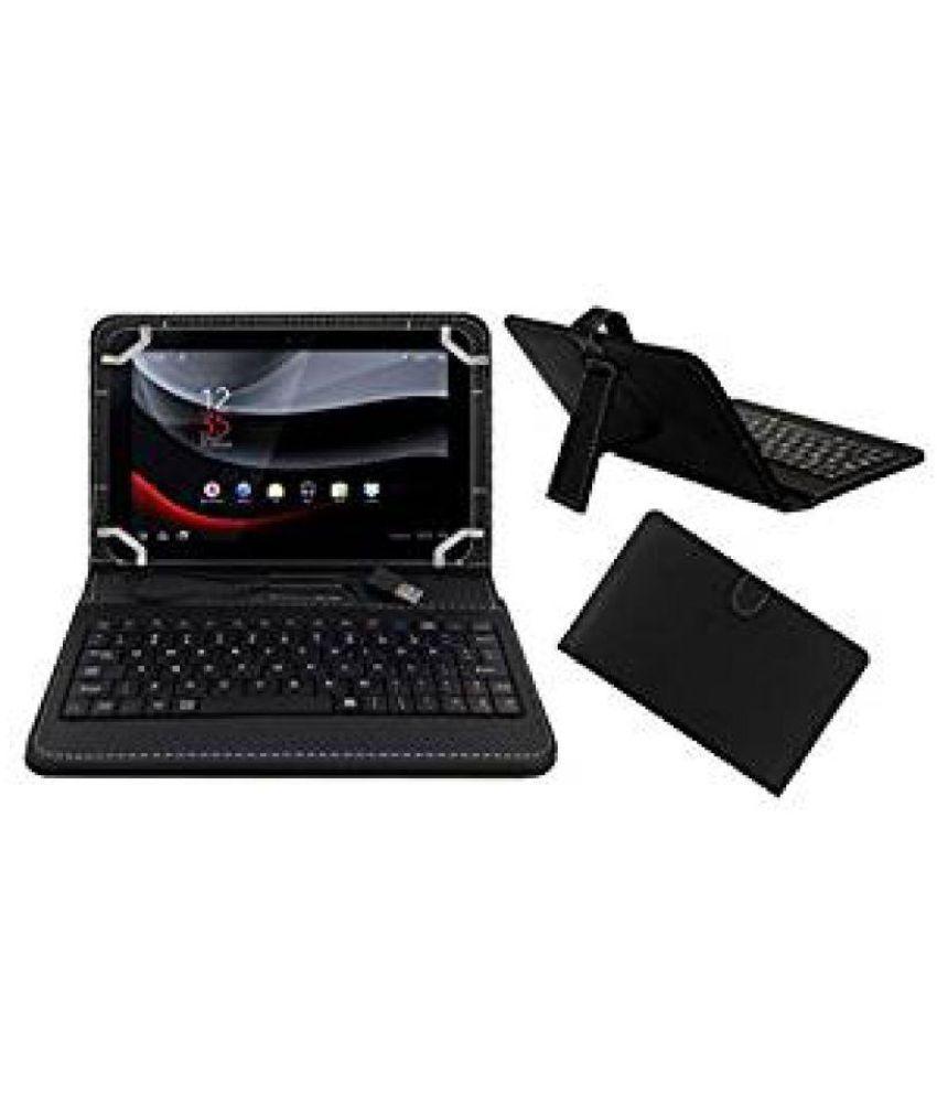 Acm Usb Keyboard Case for Karbonn Smart Tab 8 Tablet Cover Stand - Black