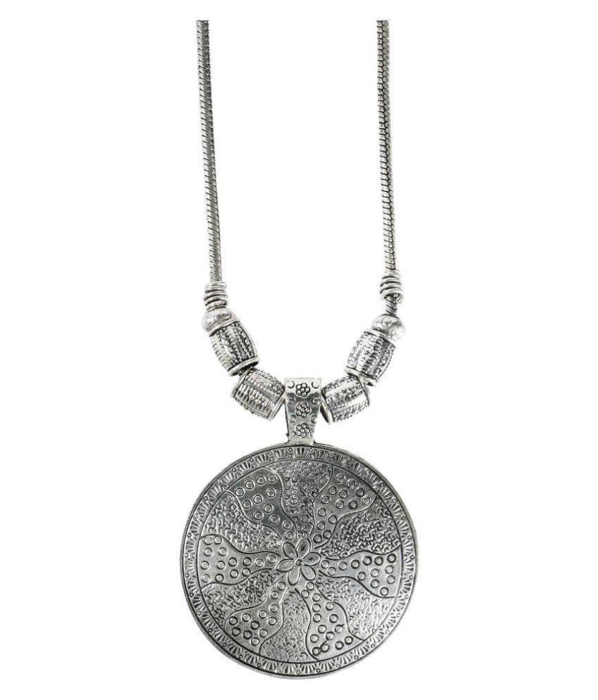 Shining Jewel 925 Antique Silver Stylish Afghani Pendant Necklace (SJ_2405)