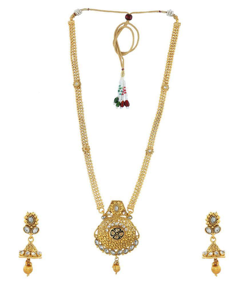 Anuradha Art Golden Finish Styled With Studded Stone Designer Long Traditionla Necklace Set For Women/Girls