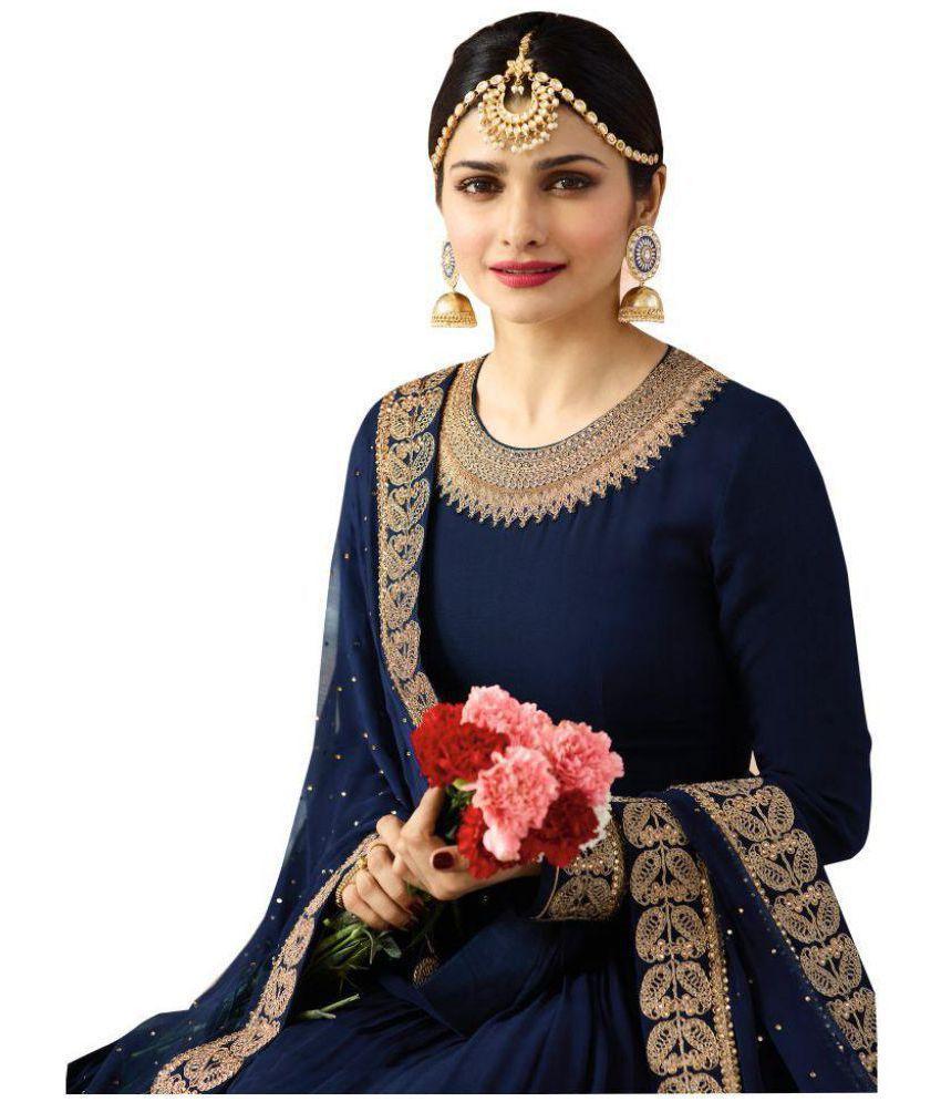 17cf702eb4dd YOYO FASHION Blue Georgette Anarkali Semi-Stitched Suit - Buy YOYO ...