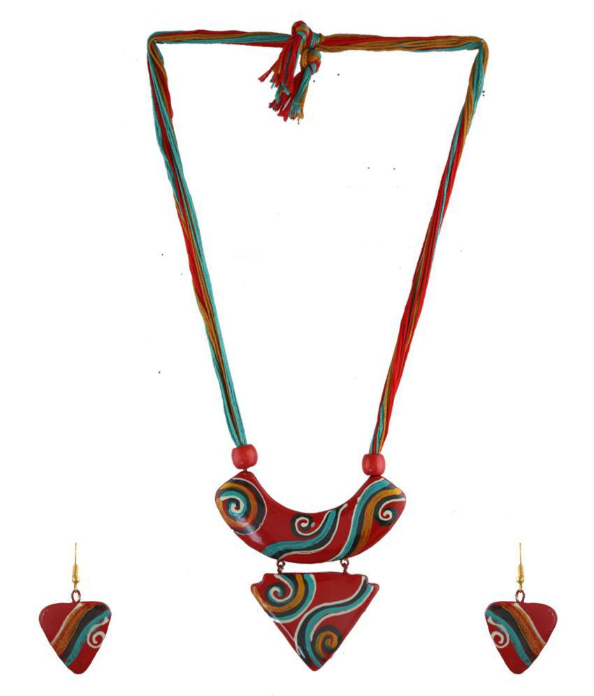 Anuradha Art Red Colour Adorable Classy Thread Necklace/Terracotta Necklace Set For Women/Girls