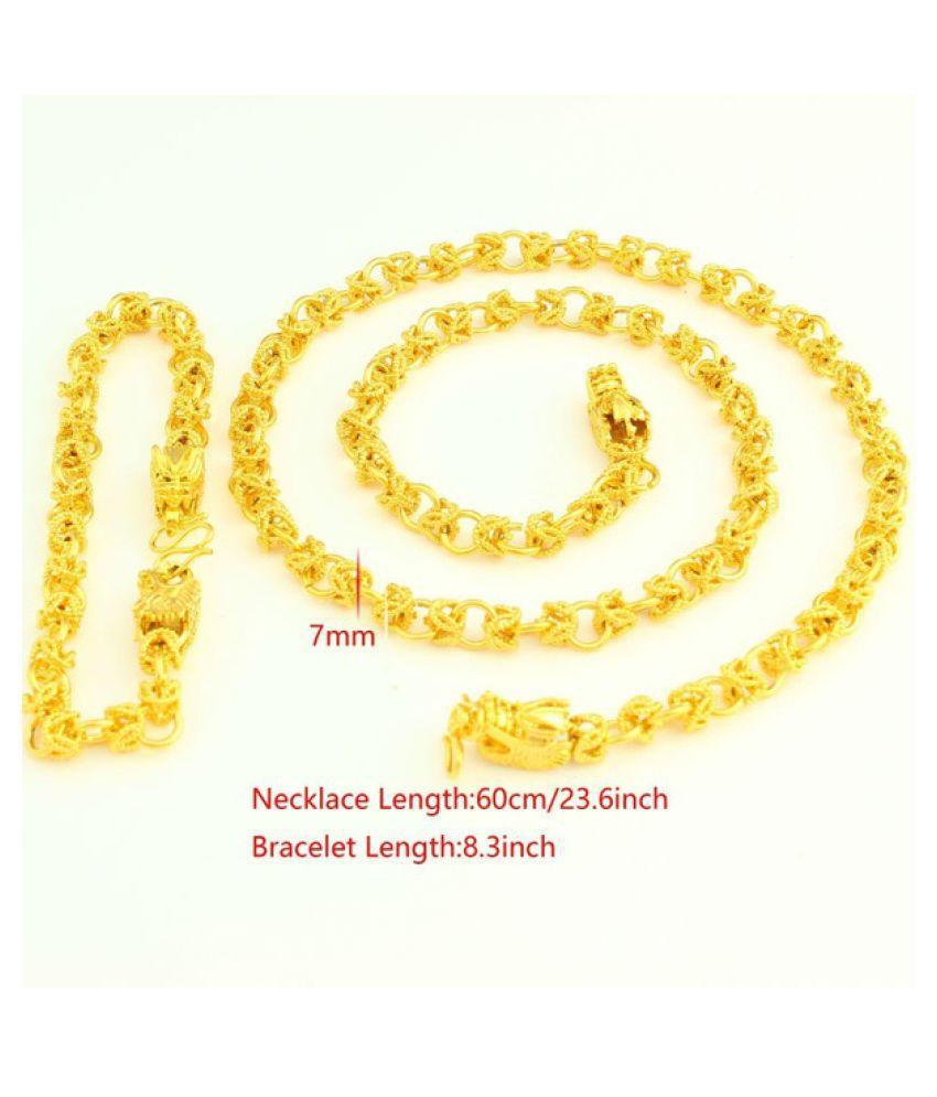 Kamalife Adixyn Luxury Dragon Bracelet Necklace For Women Men 18K Gold Plated Jewelry Set Ethiopian/USA/African/India Animal Items Gold 60 cm