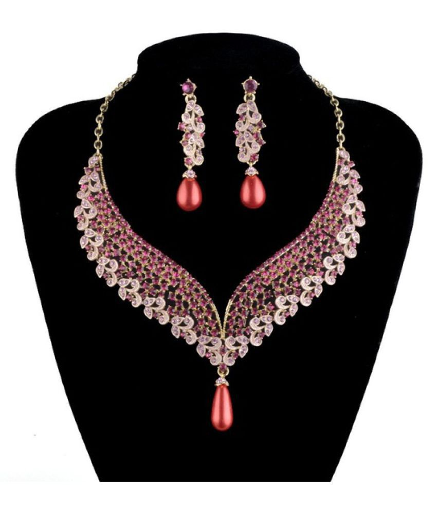 Kamalife India style bridal wedding necklace earrings set crystal pearl rhinestone pink color Evening Party fashion jewelry Sets