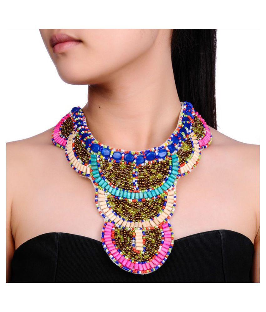 Kamalife Hot Fashion White Ribbon Colorized Seed Beads Choker Statement Bohemia Necklace