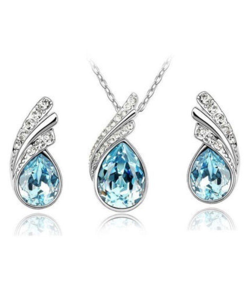 Kamalife Women's Ladies' Fashion Crystal Rhinestone Water Drop Earrings Necklace Jewelry Suit Gift