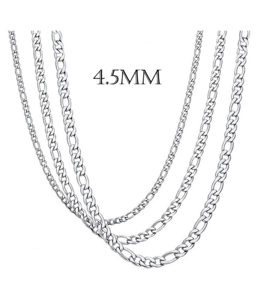 KamalifeMens Womens Stainless Steel Silver Curb Link Chain Necklace 18-30inches 4.5MM