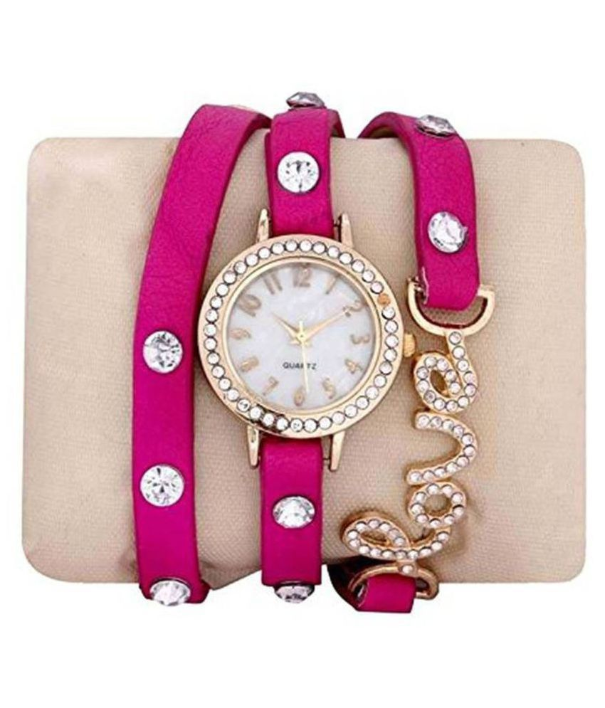WATCHES FOR WOMEN-GIRLS-LOVE BUCKLE-PINK LEATHER STRAP