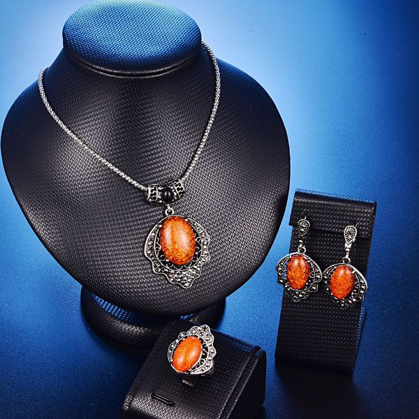 Kamalife Fahion Flower Pendant Resin Jewelry Set Choker Necklace Earrings Rings For Women Antique Silver Plated (Ring Size:9)