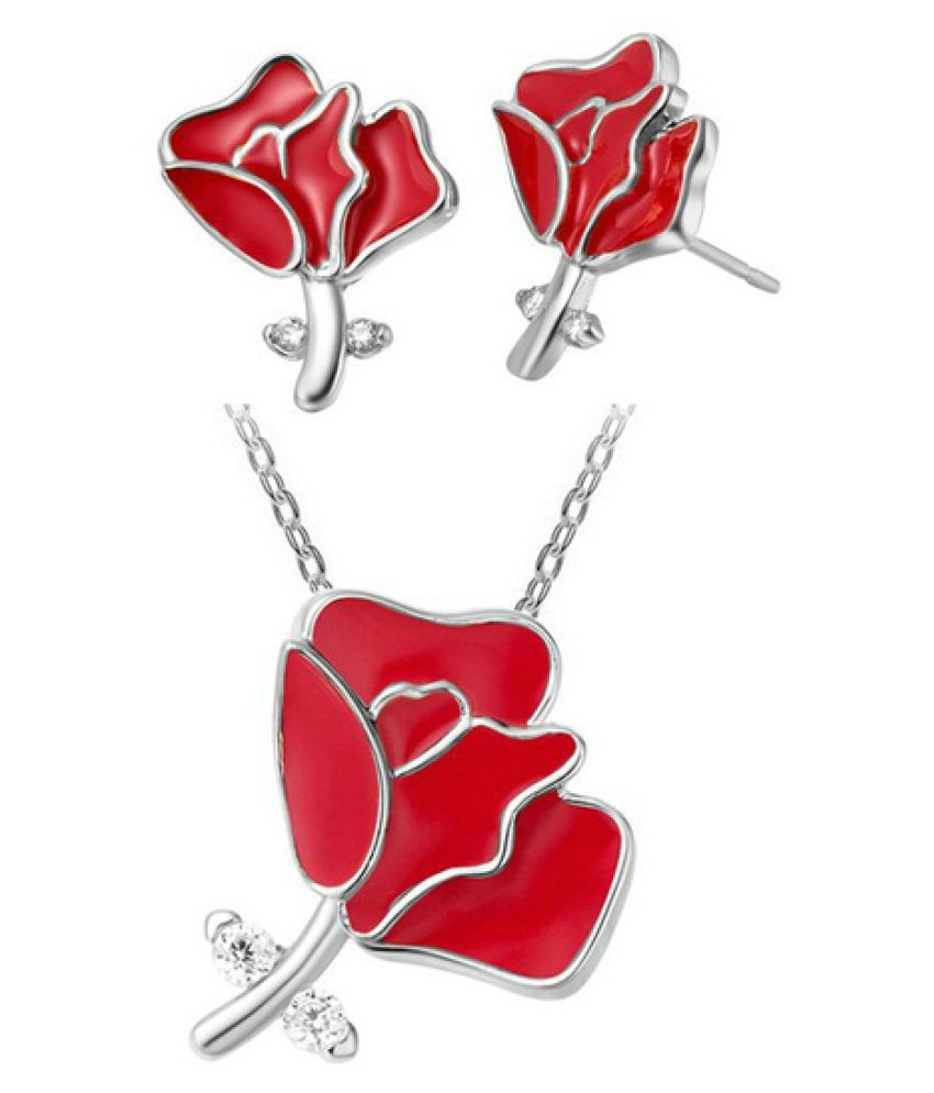 Kamalife Fashion  Enamel Rose Flower Earrings Necklace Indian Jewelry Sets,Silver  Plated Conjuntos Joias