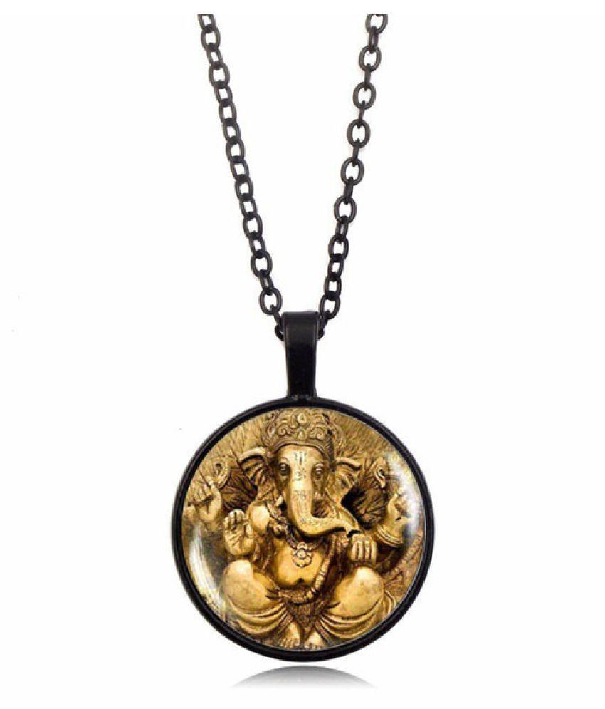 Kamalife Glass Cabochon Ganesh Pendant Necklace Ganesh Indian God Jewelry Hinduism Religious Jewelry