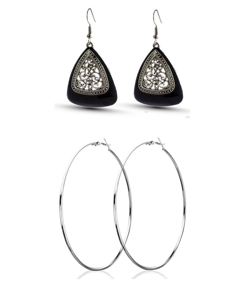 Three Shades Stylish Coloured Plated Hoop/Loop Tungsten Hoop Earring Combo Set of 2 Earring_052