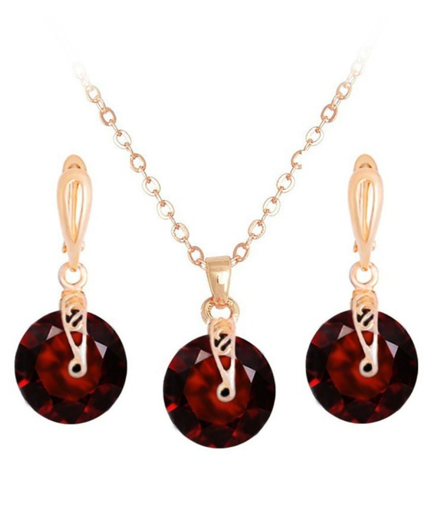 Kamalife 18K Rose Gold Filled Crystal Necklace Earrings Women Wedding Charming Jewelry Set