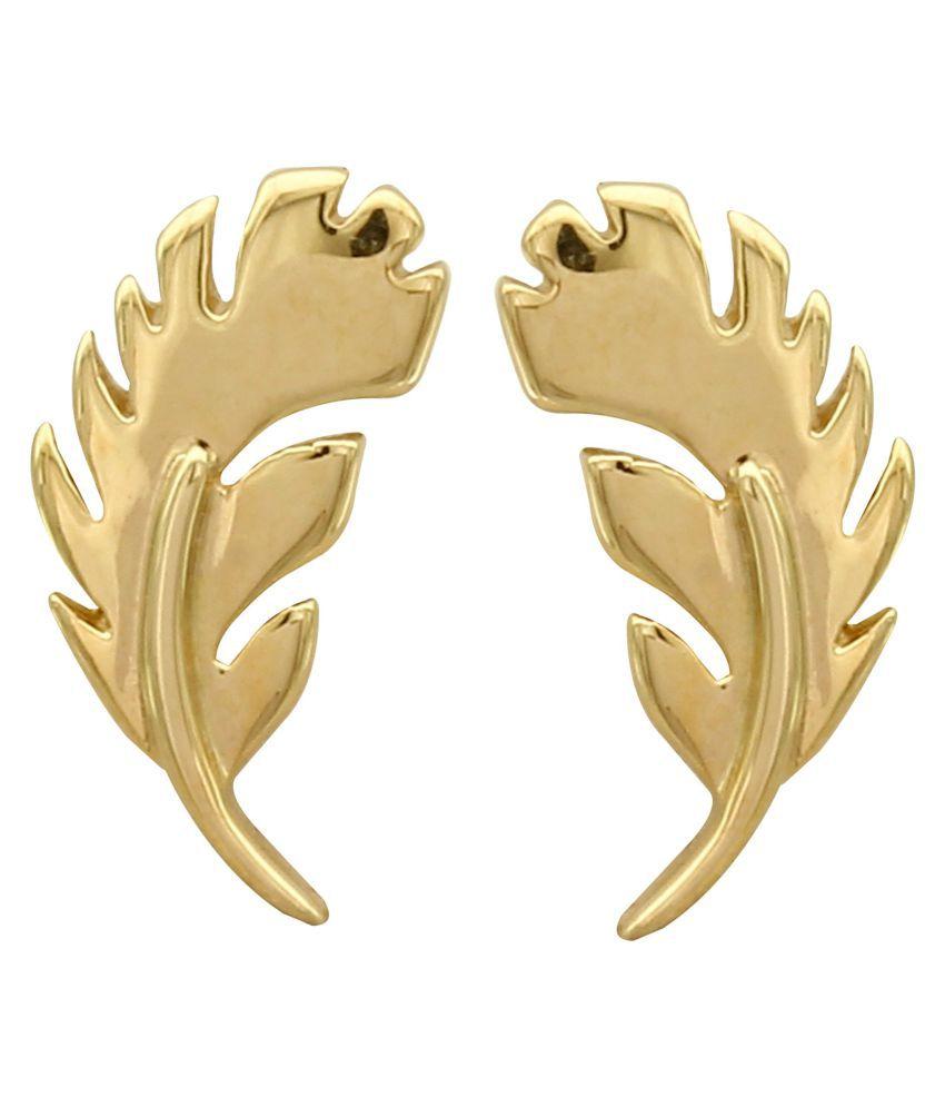 MAGS Silver Self Design Leafy Shape Stud Earring for Girls (KLE-163, Golden)