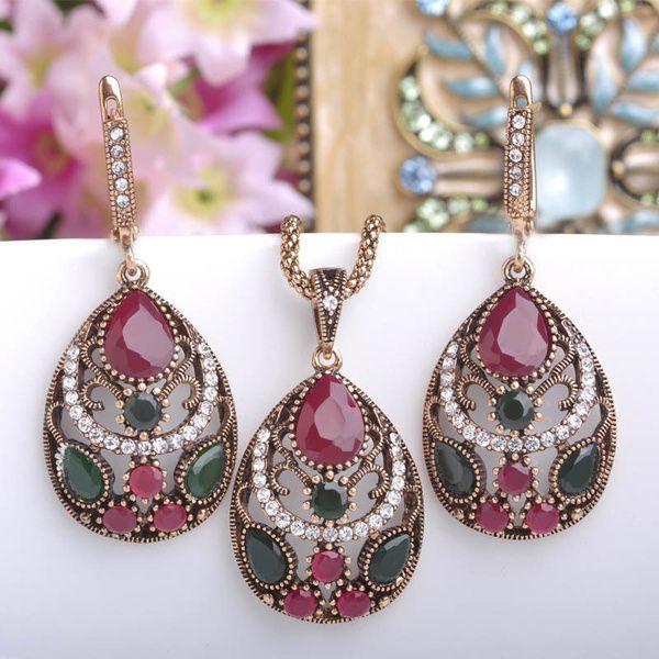 Kamalife 2Pcs/Set Trendy Jewelry Set Chic Bohemia Waterdrop Necklace Earring Statement Jewelry Sets For Women Lady Red