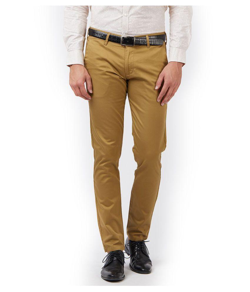 EASIES by KILLER Beige Slim -Fit Flat Trousers