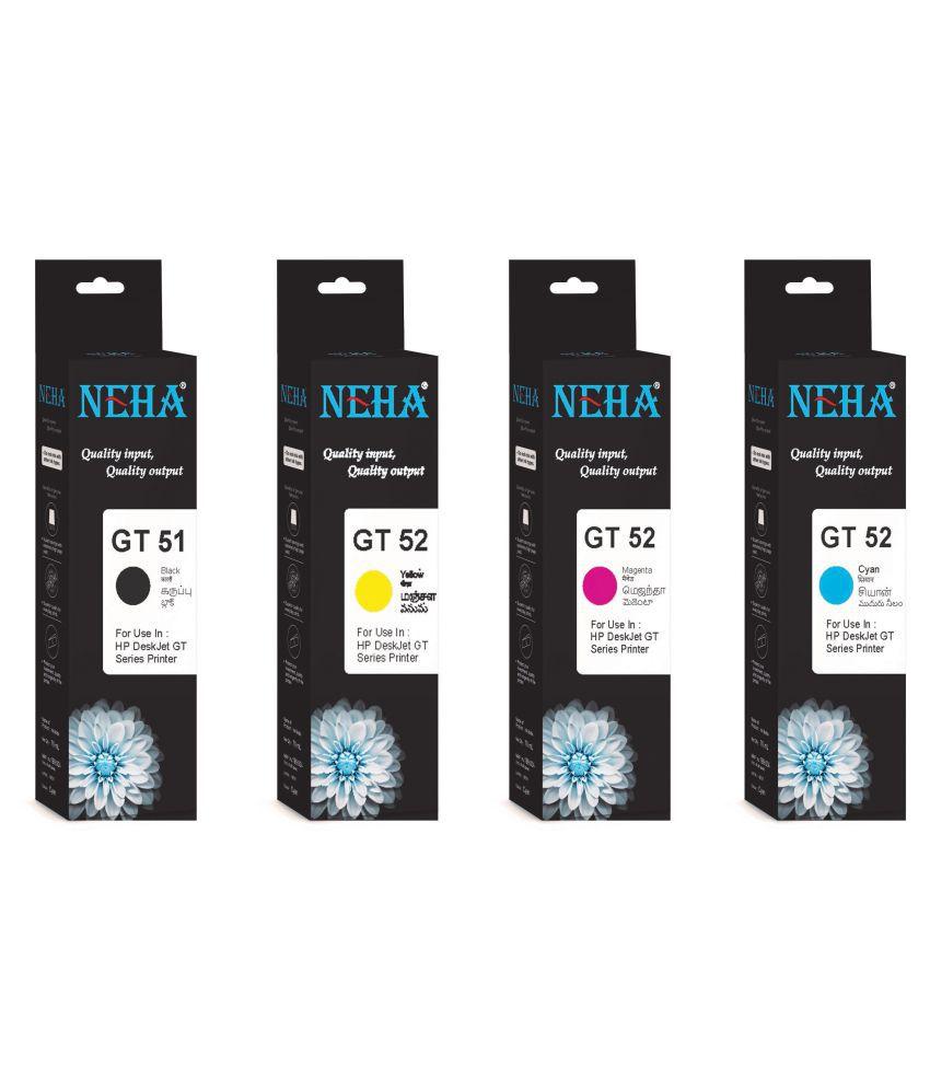 Neha GT51/GT52 INK Multicolor Pack of 4 Ink bottle for ALL HP DESKJET GT SERIES PRINTER