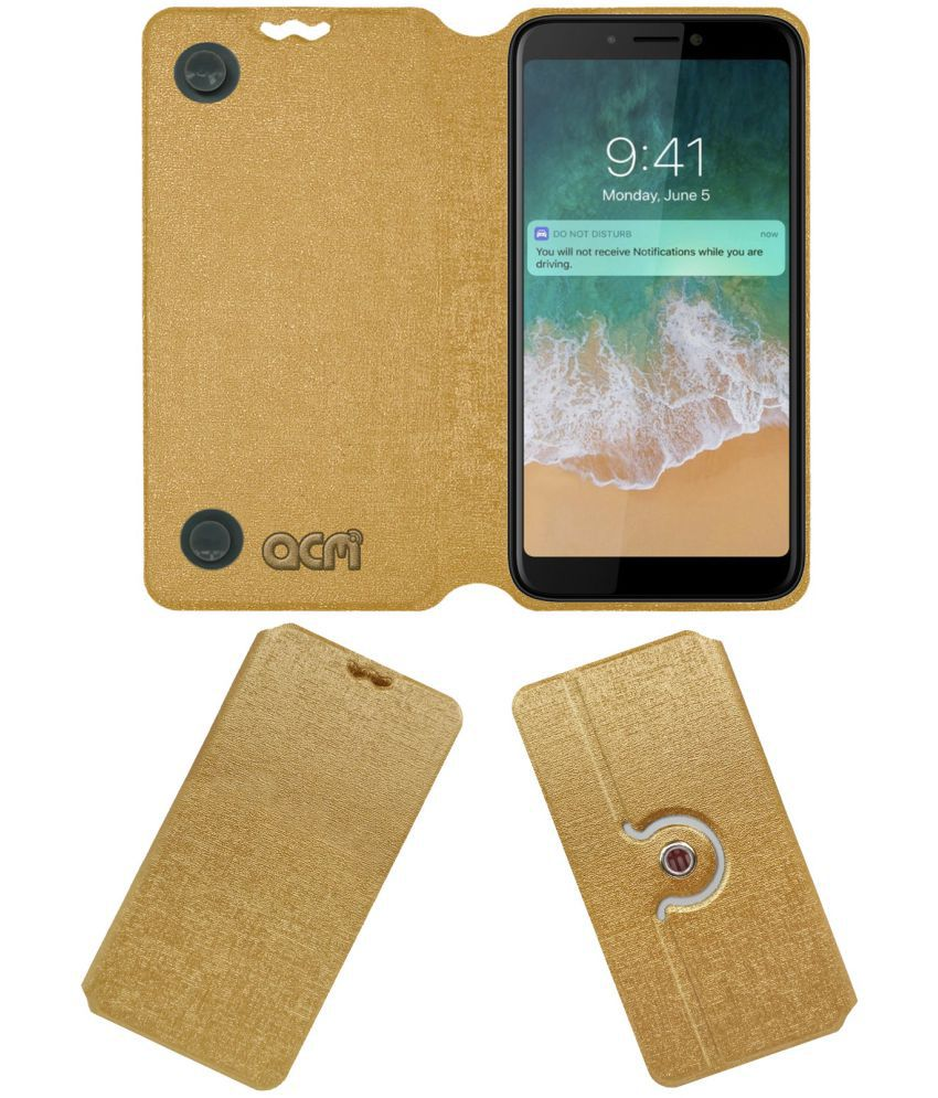 Canvas 2 Plus Flip Cover by ACM - Golden Dual Side Stand