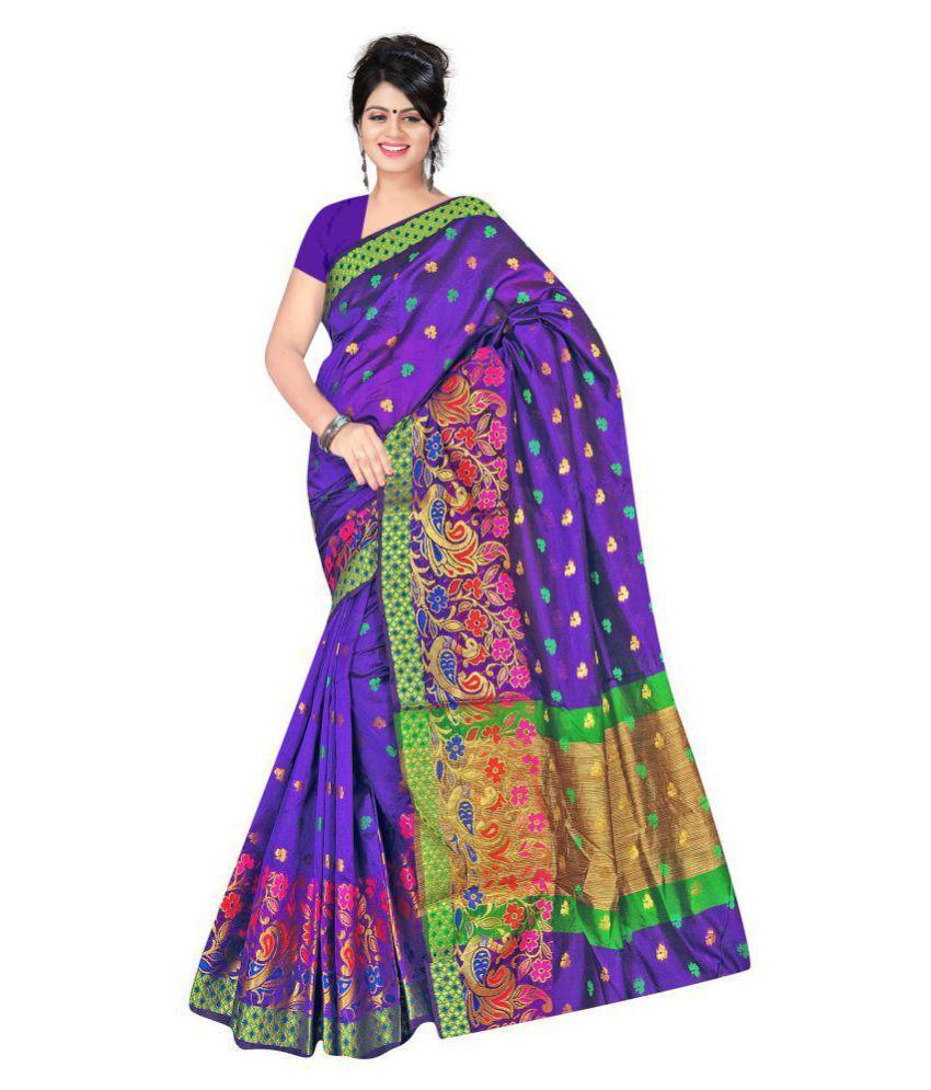 hiren silk Purple Silk Saree