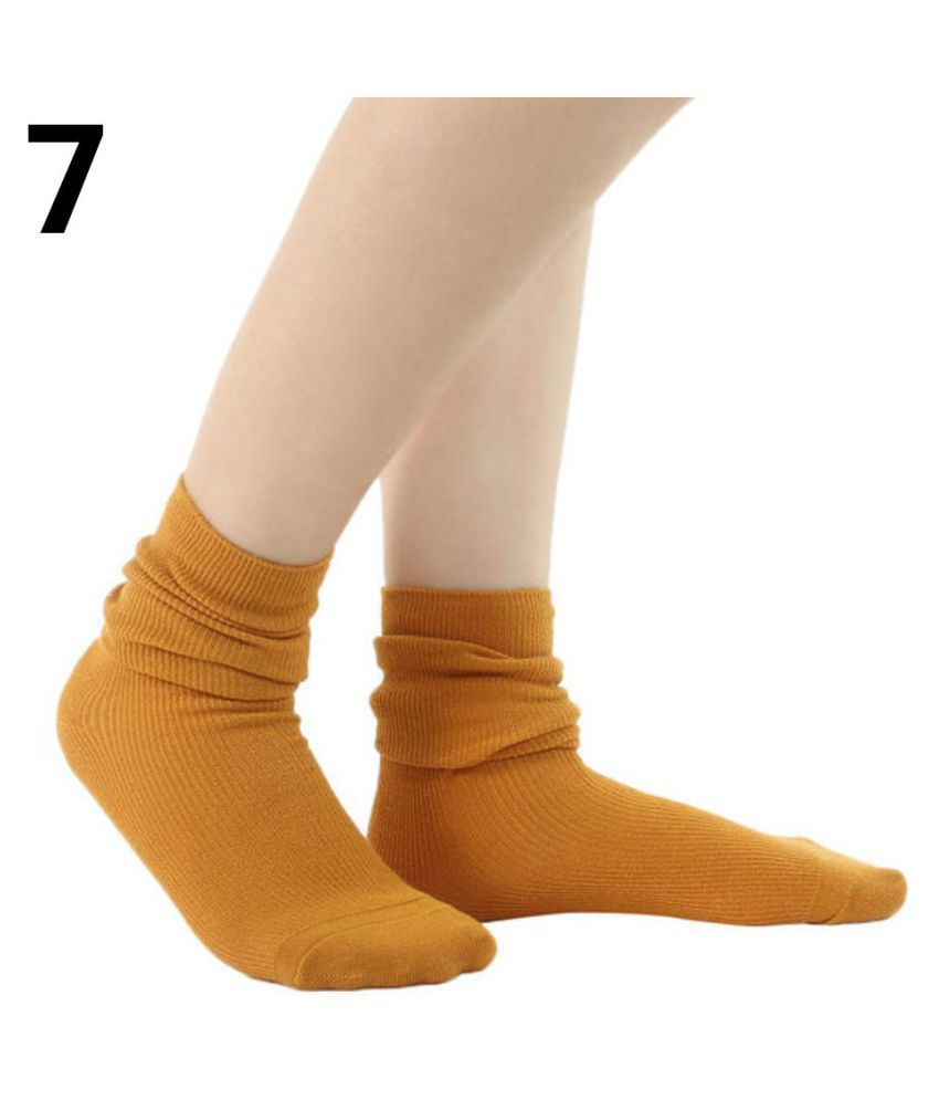 Fashion Women's Boots Thin Socks Slouch Solid Color Outdoor Cotton Knitted Socks