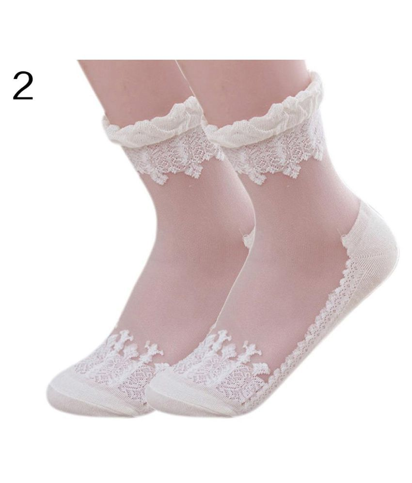Gothic Women Lace Ultra Thin Transparent Breathable Elastic Short Socks Gift