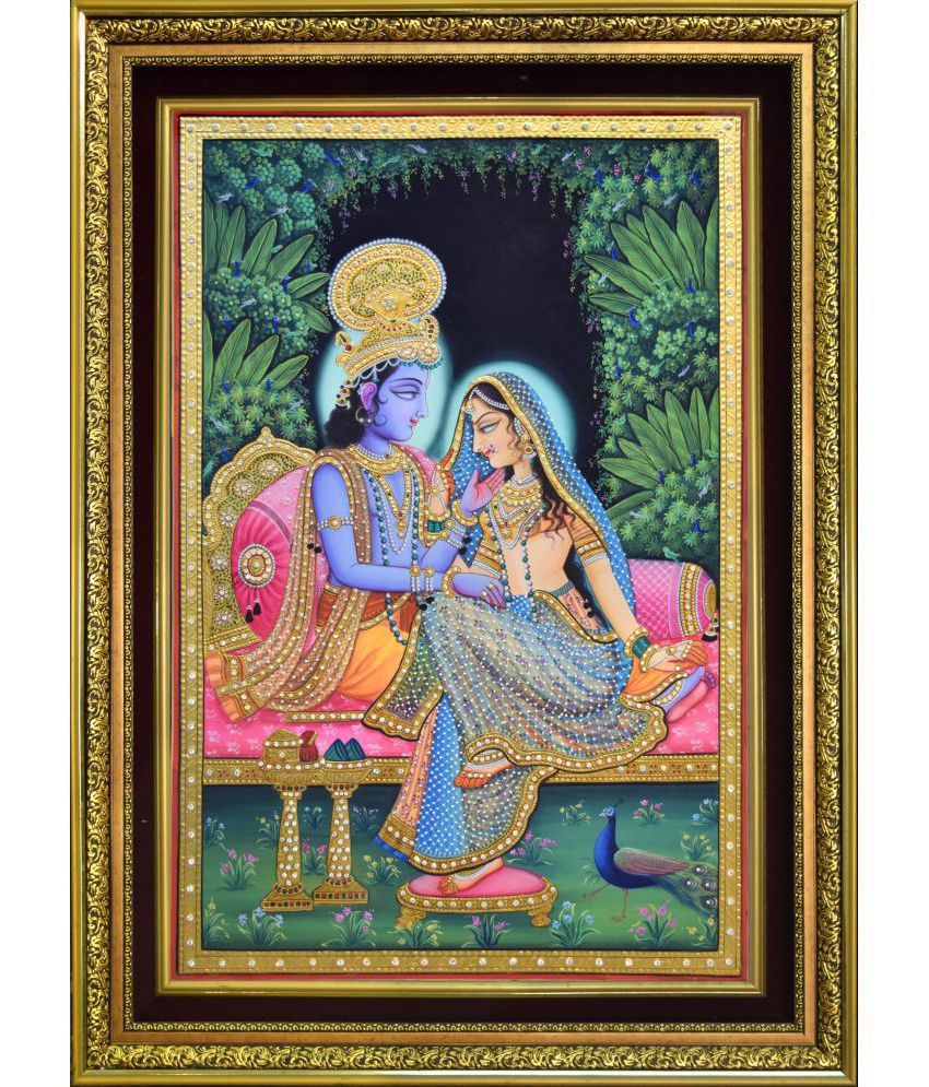 Mukund Arts Radha Krishna(Shayan) hand wood painting with gold leaf Wood Painting With Frame